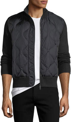 Moncler Quilted Nylon & Wool-Blend Zip-Front Cardigan