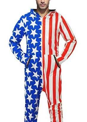 GO Pajamas One-Piece Onesies Adult Jumpsuit USA Flag Print Hooded f34b5af04