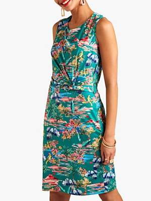 Yumi Tropical Print Jersey Dress, Green