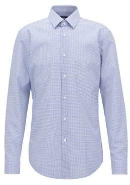 BOSS Hugo Slim-fit shirt in easy-iron checked cotton poplin 15 Open Blue