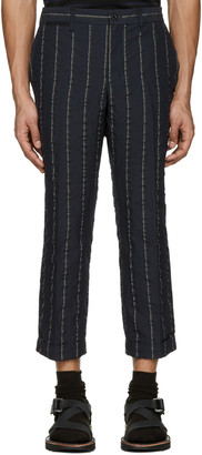 Sacai Navy Striped Seersucker Trousers $625 thestylecure.com