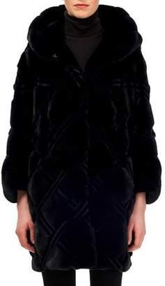 Gorski Semi-Sheared Mink Stroller Coat w/ Hood