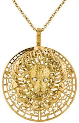 Peter Lindeman 18K Diamond Lion Convertible Pendant Necklace