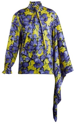 Balenciaga Poppy Print Silk Jacquard Shirt - Womens - Purple Multi
