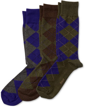 Polo Ralph Lauren Ralph Lauren Men Socks, Dress Argyle Crew 3 Pack Socks