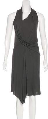 Helmut Lang Draped Sleeveless Midi Dress