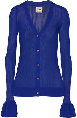 Khaite - Eloise Ribbed Stretch-knit Cardigan - Cobalt blue