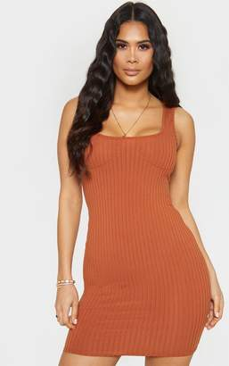 PrettyLittleThing Tan Ribbed Cup Detail Sleeveless Bodycon Dress