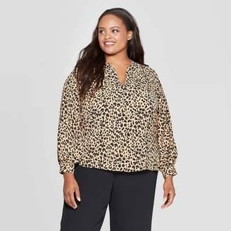 Ava & Viv Women's Plus Size Animal Print Long Sleeve V-Neck Popover Top
