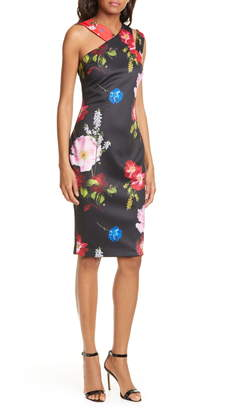 Ted Baker Polayo Floral Asymmetrical Sheath Dress