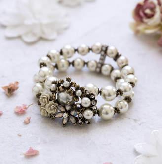 Lola & Alice Miriam Chunky Crystal And Pearl Bracelet