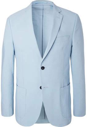 Officine Generale Blue 375 Slim-Fit Unstructured Stretch-Cotton Seersucker Blazer