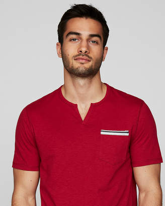 Express Striped Trim Pocket Notch Neck Tee
