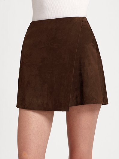 Vince Suede Wrap-Front Skirt