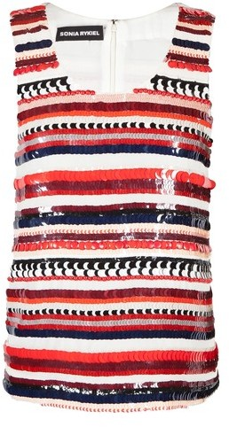 Sonia Rykiel Striped Sequin Tank Top