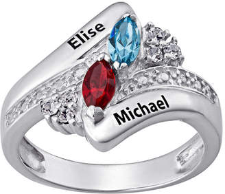 FINE JEWELRY Personalized Couple's Name Marquise Birthstone Bypass Ring