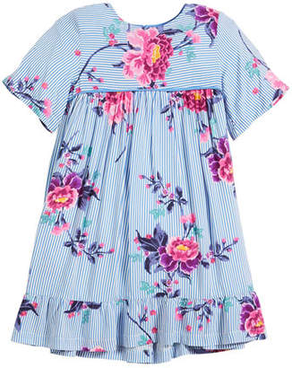 Joules Judy Striped & Floral Short-Sleeve Dress, Size 2-6