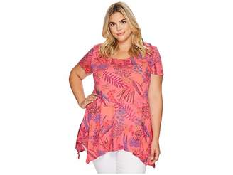 Fresh Produce Extra Fresh by Plus Size Bright Botanical Vintage Drape Tee