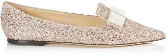 Jimmy Choo GALA Rosewood Mix Painted Glitter Fabric Pointy Toe Flats