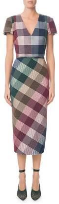 Roland Mouret Chaney V-Neck Cap-Sleeve Plaid Sheath Midi Dress