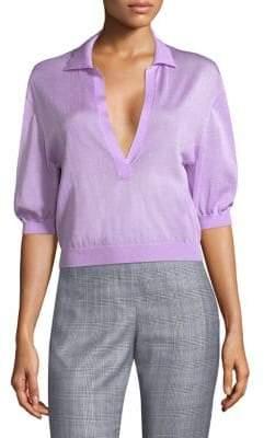 Tibi Puff-Sleeve Crop Pullover