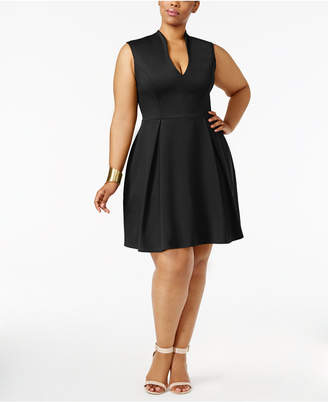 Soprano Trendy Plus Size Pleated Fit & Flare Dress $59 thestylecure.com