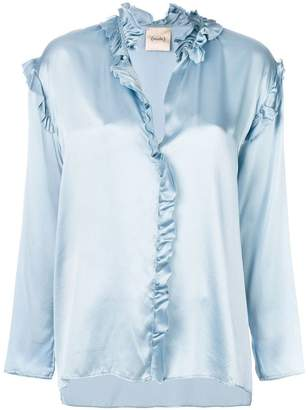 Nude metallic frill-trim blouse