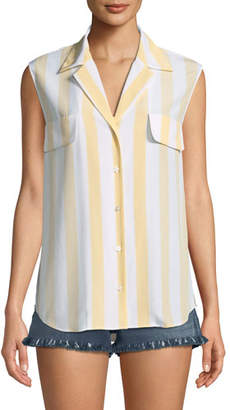 Frame True Striped Sleeveless Silk Shirt
