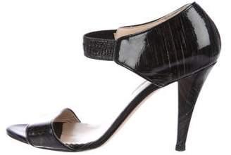 Oscar de la Renta Patent Ankle-Strap Sandals