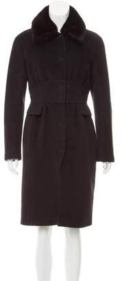 Max Mara Fur-Trimmed Angora & Silk-Blend Coat