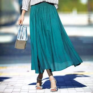ベルーナ (ベルーナ) - ベルーナ インド綿ボイル素材フレアースカート ターコイズ 3L レディース