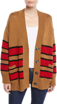 No.21 No. 21 Striped Oversized Snap-Front Cotton Cardigan