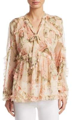 Zimmermann Floral Silk Flounce Blouse