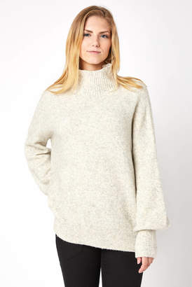 French Connection Puff Sleeve Orla Flossy Turtleneck Sweater