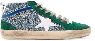 Golden Goose Mid Star Glittered Distressed Suede And Leather Sneakers - Emerald