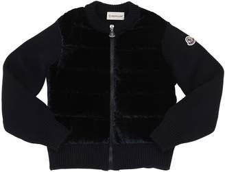 Moncler Wool Knit & Velvet Down Jacket