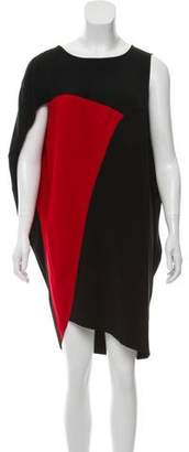 Zero Maria Cornejo Colorblock Asymmetrical Knee-Length Dress