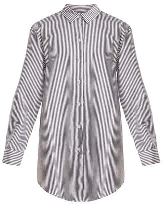 Asceno - Point Collar Striped Cotton Shirtdress - Womens - Black Stripe
