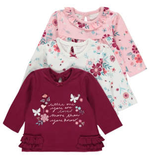 George Frill Trim Long Sleeve Tops 3 Pack