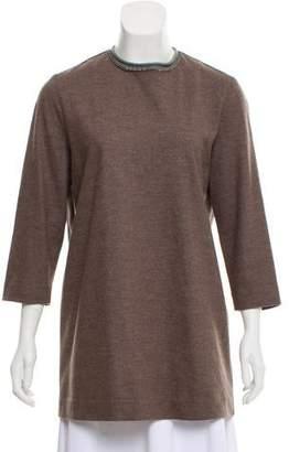 Fabiana Filippi Embellished Wool-Blend Top