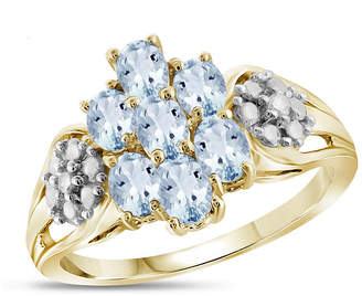 FINE JEWELRY Womens Diamond Accent Blue Aquamarine 14K Gold Over Silver Cluster Ring