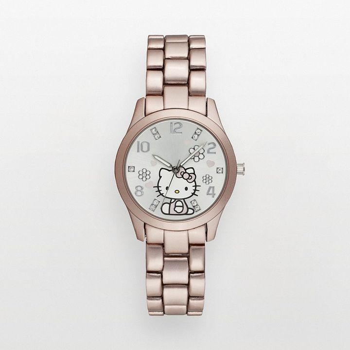 Hello Kitty champagne simulated crystal watch - women