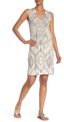 Kinross Ikat Sleeveless V-Neck Linen Dress