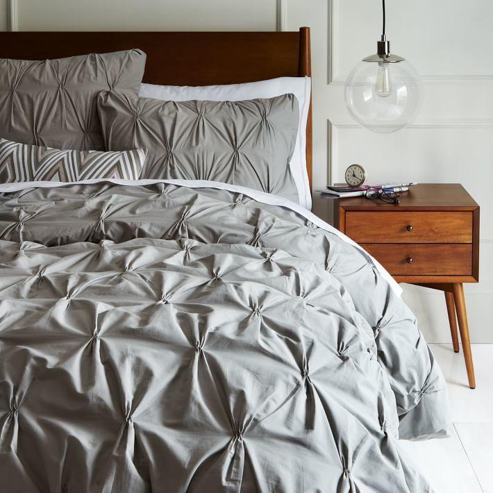 west elm Organic Cotton Pintuck Duvet Cover + Shams - Feather Gray