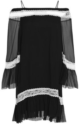 Alice + Olivia Cold-Shoulder Lace-Trimmed Silk-Chiffon Dress