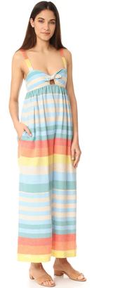 Mara Hoffman Equator Stripe Tie Front Jumpsuit $310 thestylecure.com