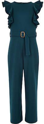River Island Girls dark blue ruffle belted jumpsuit