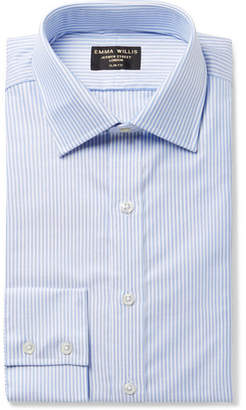 Blue Slim-Fit Striped Cotton Oxford Shirt
