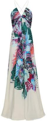 Roberto Cavalli Gathered Printed Silk Crepe De Chine Gown