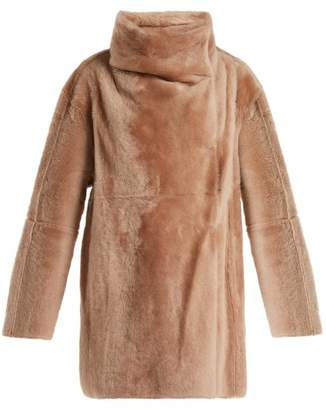 Yves Salomon High Collar Shearling Coat - Womens - Light Pink